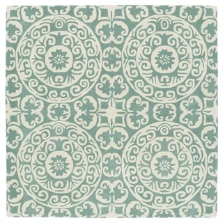 Runway Mint/ Ivory Suzani Hand-Tufted Square Wool Rug (5'9 x 5'9)