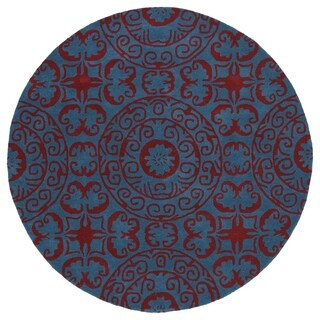 Runway Peacock Blue/Red Suzani Hand-Tufted Wool Rug (5'9 Round)