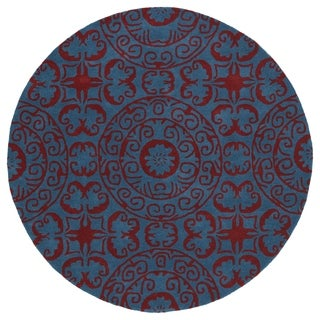 Runway Peacock Blue/Red Suzani Hand-Tufted Wool Rug (3'9 Round)