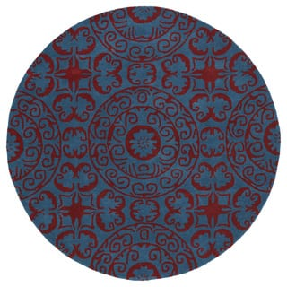 Runway Peacock Blue/Red Suzani Hand-Tufted Wool Rug (11'9 Round)|https://ak1.ostkcdn.com/images/products/11805125/P18713537.jpg?impolicy=medium