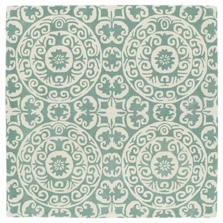 Runway Mint/Ivory Suzani Hand-Tufted Wool Rug (7'9 x 7'9 Square)
