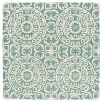 Runway Mint/Ivory Suzani Hand-Tufted Wool Rug - 7'9 x 7'9