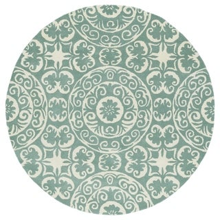 Runway Mint/Ivory Suzani Hand-Tufted Wool Rug (5'9 Round)