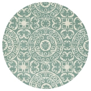 Runway Mint/Ivory Suzani Hand-Tufted Wool Rug (3'9 Round)