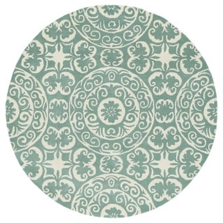 Runway Mint/Ivory Suzani Hand-Tufted Wool Rug (11'9 Round)