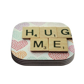 Kess InHouse Cristina Mitchell 'Hug Me' Heart Text Coasters (Set of 4)