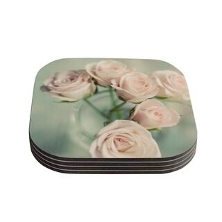 Kess InHouse Cristina Mitchell 'Pink Romance' Teal Blush Coasters (Set of 4)