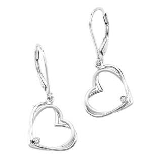 Sterling Silver Diamond Double Heart Earrings