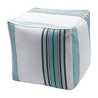 Madison Park Bolinas Printed Stripe 3M Scotchgard Outdoor Pouf