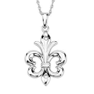 Sterling Silver Diamond Accent Fleur de Lis Pendant
