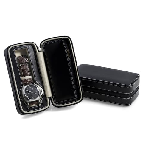 Black Leather Two Watch 7-inch x 3.25-inch Velour Travel Case