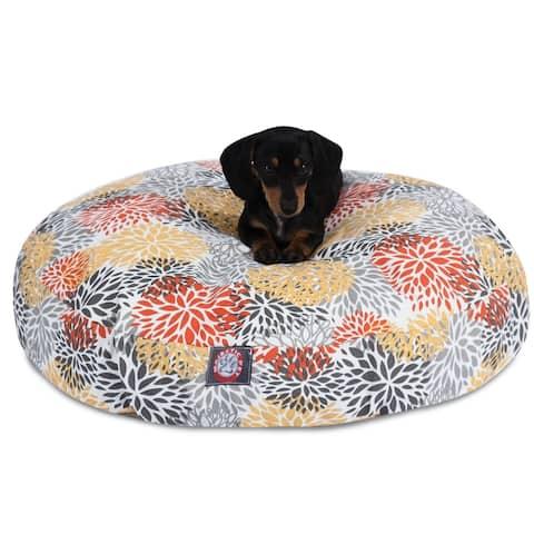 Citrus Blooms Outdoor Indoor Round Dog Bed by Majestic Pet