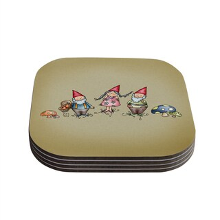 Kess InHouse Carina Povarchik 'Gnomes' Brown Multicolor Coasters (Set of 4)
