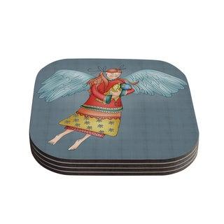 Kess InHouse Carina Povarchik 'Guardian Angel' Blue Wood 4-piece Coaster Set