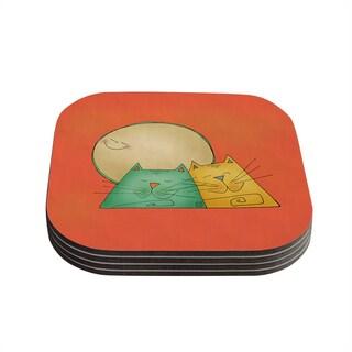 Kess InHouse Carina Povarchik '2 Gatos Romance' Love Cats Coasters (Set of 4)