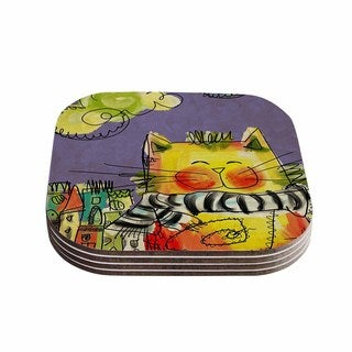 Kess InHouse Carina Povarchik 'Urban Cat With Scarf' Yellow Illustration Coasters (Set of 4)