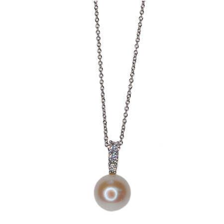 Kabella Sterling Silver Freshwater Pearl with Cubic Zirconia Accent Pendant (9mm)