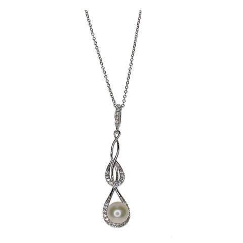 Kabella Sterling Silver Freshwater Pearl and Cubic Zirconia Accent Infinity Pendant (7mm)
