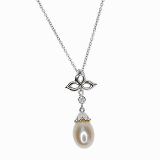 Kabella Sterling Silver Freshwater Pearl with Cubic Zirconia Accent Pendant (7-8 mm)