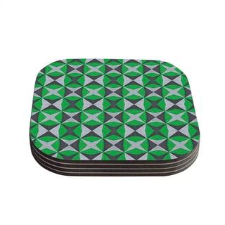 Kess InHouse Empire Ruhl 'Silver and Green Abstract' Green Black Coasters (Set of 4)