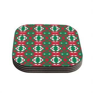 Kess InHouse Empire Ruhl 'Christmas Geo' Red Green Coasters (Set of 4)