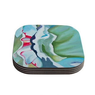 Kess InHouse Cathy Rodgers 'Peony Shadows' Green Flower Coasters (Set of 4)