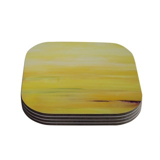 Kess InHouse Cathy Rodgers 'Yellow Sunrise' Yellow Purple Coasters (Set of 4)