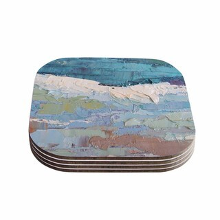 Kess InHouse Carol Schiff 'Surf Dreams' Blue Painting Coasters (Set of 4)