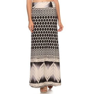 MOA Collection Women's Border Black Paisley Polyester/Spandex Maxi Skirt