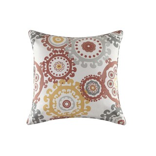 Madison Park Carmel Coral Multi Printed Medallion 3M Scotchgard Indoor-Outdoor Pillow 26-inch