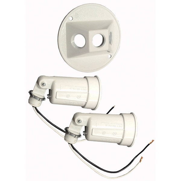 Bell Outdoor 5625-6 4-inch White Round Dual Lampholders