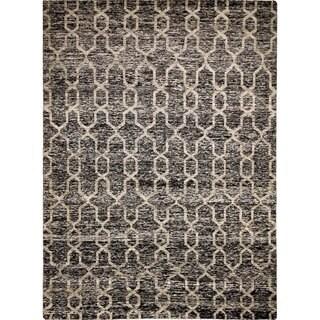 Sari Silk Britney Black Hand-knotted Rug (9' x 12')