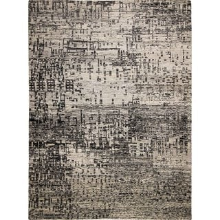 Sari Nelle Silk Black/Grey Hand-knotted Rug (9'7 x 12'7)