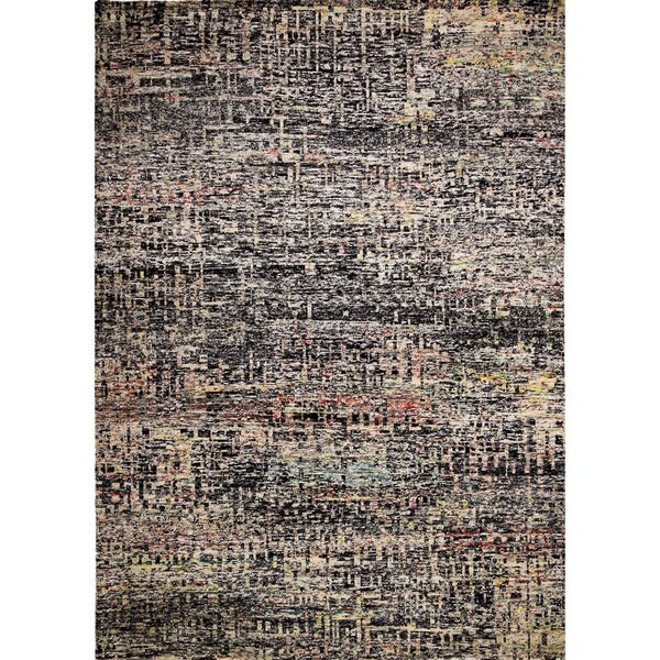 Sari Silk Lilliana Black/Beige Hand-knotted Viscose Rug (9'0 x 11'11)