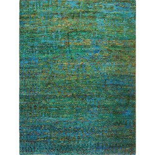 Sari Silk Elfi Green Hand-knotted Viscose Rug (9'0 x 11'10)
