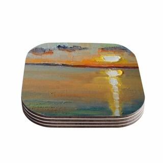 Kess InHouse Carol Schiff 'Reflections' Green Orange Coasters (Set of 4)