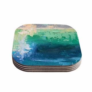 Kess InHouse Carol Schiff 'Sea Music' Teal Painting Coasters (Set of 4)