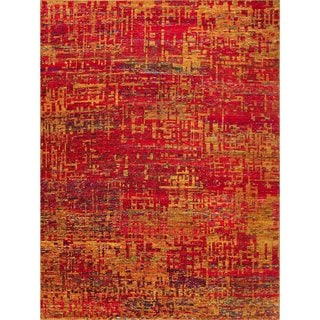 Sari Silk Rowena Rust-colored Viscose Hand-knotted Rug (8' x 10'1)