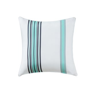 Madison Park Bolinas Blue/White Printed Stripe 3M Scotchgard Indoor-Outdoor Pillow 26-inch