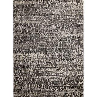 Sari Silk Princeton Black/Ivory Hand-knotted Viscose Rug (8'10 x 11'7)