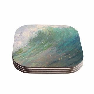 Kess InHouse Carol Schiff 'Wall Of Water' Blue Painting Coasters (Set of 4)