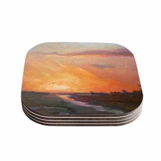 Kess InHouse Carol Schiff 'Golden Hour Over The Marsh' Orange Watercolor Coasters (Set of 4)
