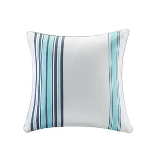 Madison Park Bolinas Blue/White Printed Stripe 3M Scotchgard Indoor-Outdoor Pillow 20-inch