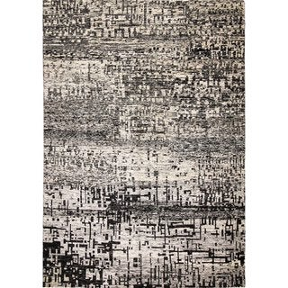Sari Silk Remington Black/Grey Hand-knotted Viscose Rug (8'10 x 11'11)