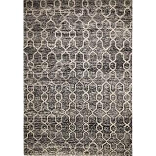 Willis Black/Beige Sari Silk Hand-knotted Rug (9'8 x 13'2)