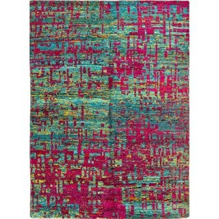 Sari Silk Sheldon Teal Blue Hand-knotted Viscose Rug (5'8 x 8'0)