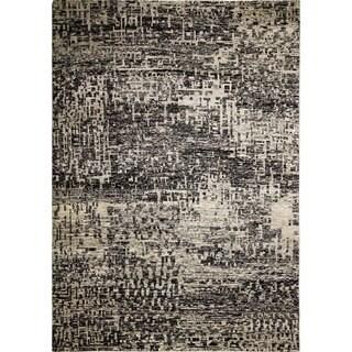 Sari Silk Alfredo Black Hand-Knotted Rug (9' x 12'1)