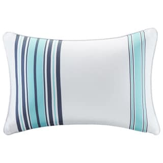 Madison Park Bolinas Blue/White Printed Stripe 3M Scotchgard Indoor-Outdoor Pillow