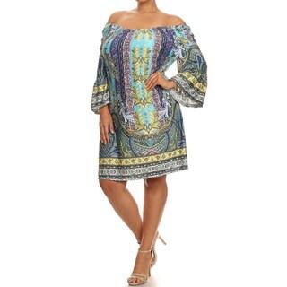 MOA Collection Women's Plus Size Pattern Print Short Dress