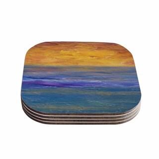 Kess InHouse Cyndi Steen 'Sky On Fire' Multicolor Orange Coasters (Set of 4)